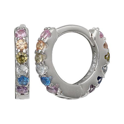 PRIMROSE Color Cubic Zirconia Hoop Earrings