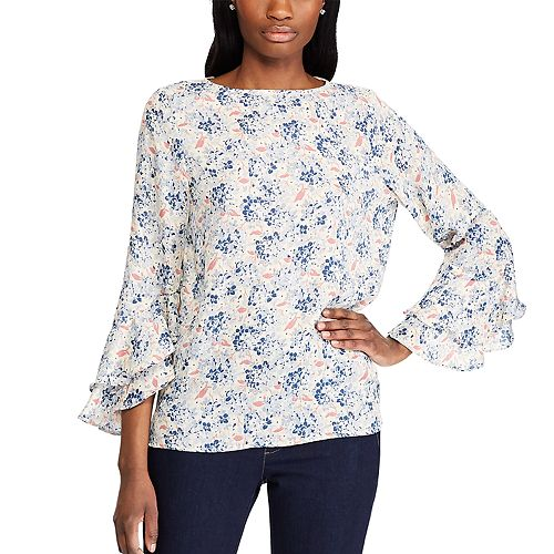 Women's Chaps Floral Flutter-Sleeve Top