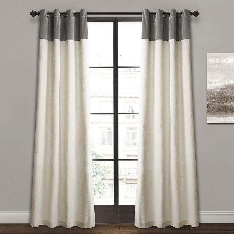 Lush Decor 2-pack Milo Linen Window Curtain Set, Grey, 52X84