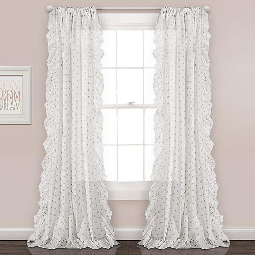 Lush Decor 2-pack Ruffle Polka Dots Window Curtains - 40'' x 84''
