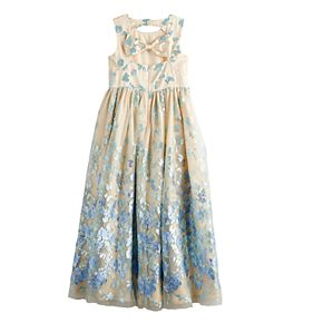 Girls 7-16 Bonnie Jean Embroidered Mesh Gown