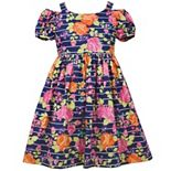Girls 7-16 Bonnie Jean Cold-Shoulder Striped Floral Dress