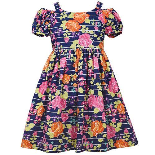 Girls 7-16 Bonnie Jean Cold-Shoulder Striped Floral Dress