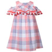 Girls 7-16 Bonnie Jean Cold-Shoulder Plaid Dress