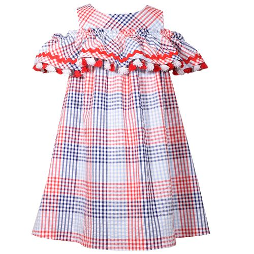 Girls 7-16 Bonnie Jean Cold-Shoulder Plaid Dress