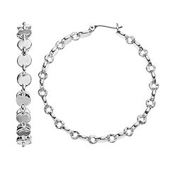 Simply Vera Vera Wang Textured Silver Tone Hoop Earrings
