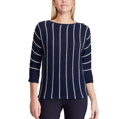 Women's Chaps Striped Linen-Blend Sweater