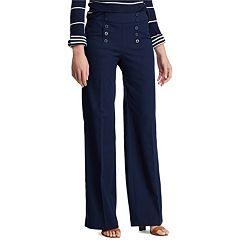 Women's Chaps Button-Front Wide Leg Pants