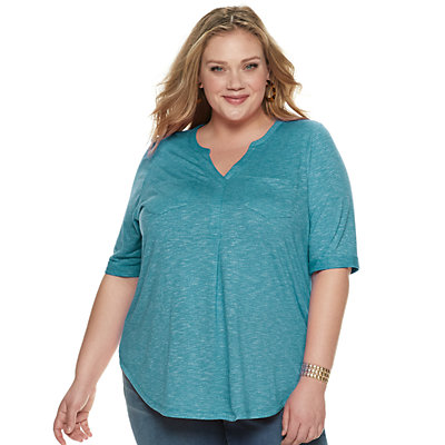 Plus Size SONOMA Goods for Life? Elbow Silver Henley Utility Shirt