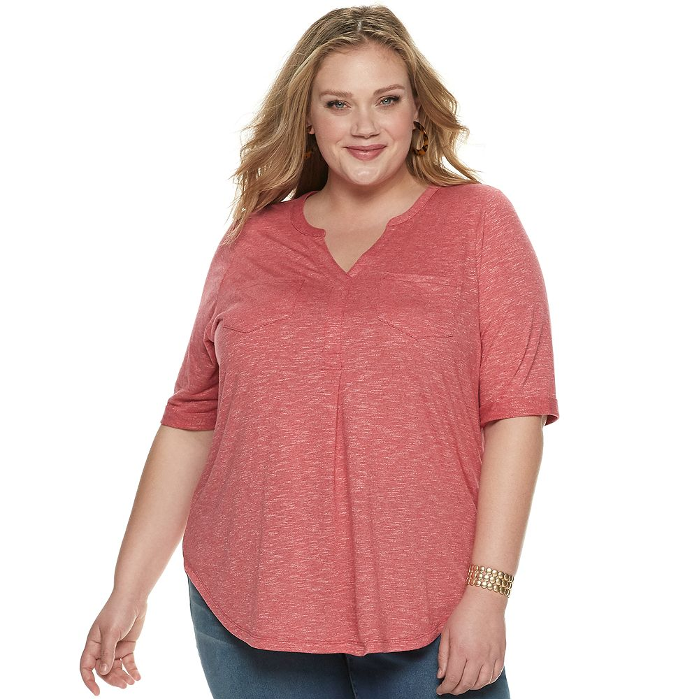 Plus Size SONOMA Goods for Life® Elbow Silver Henley Utility Shirt