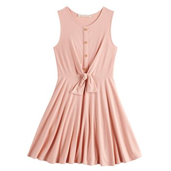 Girls 7-16 Four Threads Pleated Knot Front Skater Dress