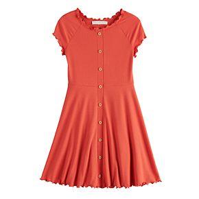 Girls 7-16 Four Threads Ribbed Skater Dress