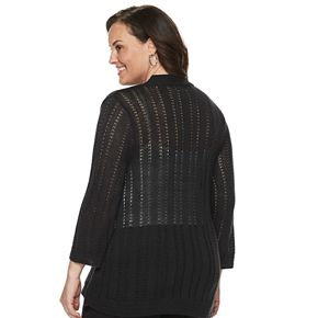 Women's Plus Dana Buchman Long-Sleeve Stitch Bolero Cardigan