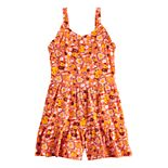 Girls Four Threads Printed Woven Ruffle Sleeve Romper