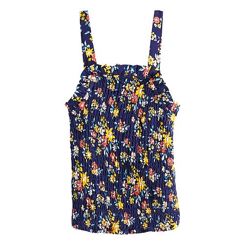 Girls Four Threads Smocked Printed Woven Top
