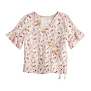Girls Four Threads Front Button & Tie Front Printed Woven Top with Ruffle Sleeves