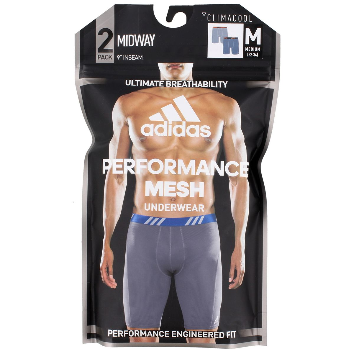 Men's adidas Sport Performance Mesh 2-Pack Midway Underwear Gray Solar Orange Onix AK0Bw