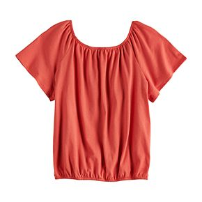 Girls Four Threads Knit Embroidered Top
