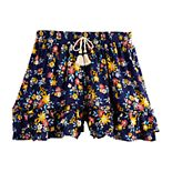 Girls Four Threads Printed Woven Ruffle Shorts