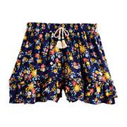 Girls Four Threads Printed Woven Ruffle Shorts