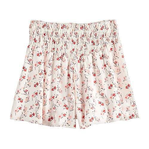 Girls 7-16 Four Threads Smocked Waist Printed Woven Short