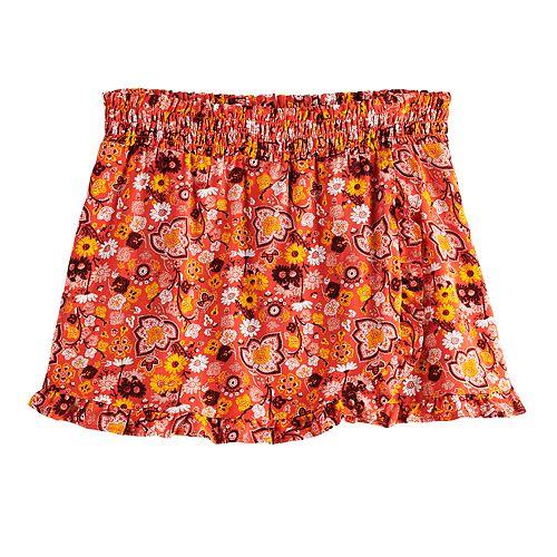 Girls 7-16 Four Threads Smocked Floral Challis Skort