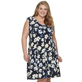 Plus Size Suite 7 Print Fit & Flare Dress
