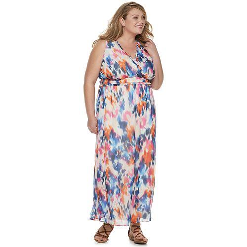 Women's Plus Suite 7 Wrap Bodice Elastic Waist Maxi Dress