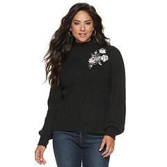 Women's Jennifer Lopez Floral-Embroidered Ribbed Mockneck Sweater