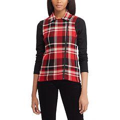 Women's Chaps Plaid Asymmetrical-Zip Vest