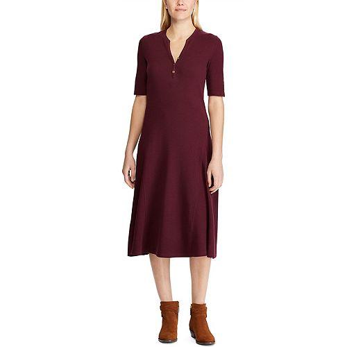 Women's Chaps Midi Henley Dress