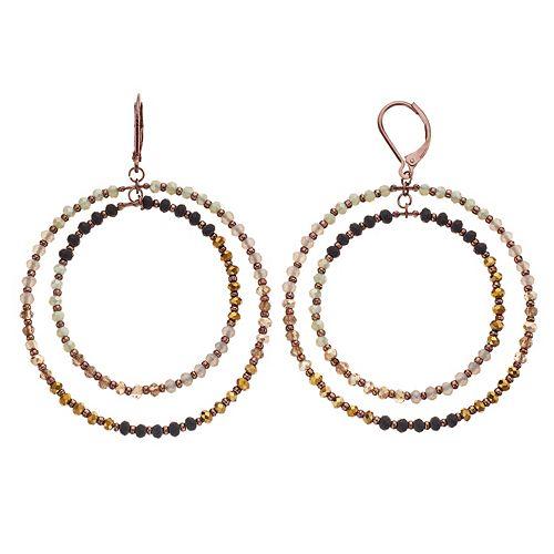 Simply Vera Vera Wang Beaded Double Hoop Drop Earrings