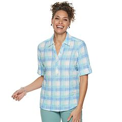 ad77f86fc6d1af Women s Cathy Daniels Plaid Splitneck Shirt