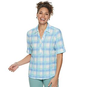 Women's Cathy Daniels Plaid Splitneck Shirt