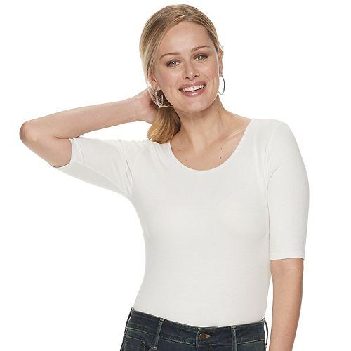 Women's Apt. 9® Elbow Sleeve Bodysuit