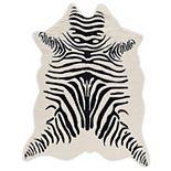 Linon Faux Cow Hide Zebra Rug - 5' x 6'6''