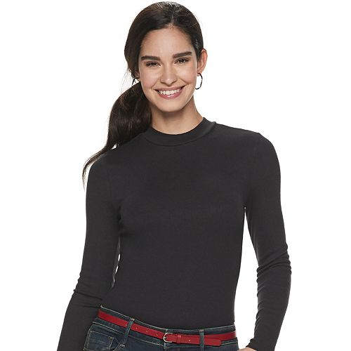 Women's Apt. 9® Long Sleeve Mock Neck Bodysuit