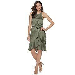 aaadaaf3bcb Women s Jennifer Lopez Ruffle Halter Wrap Dress