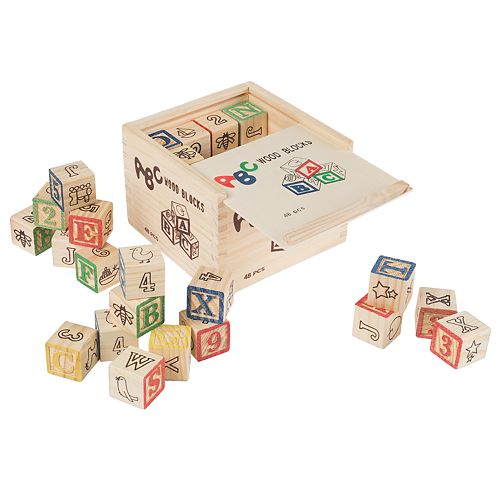 Hey! Play! ABC and 123 Wooden Blocks Set