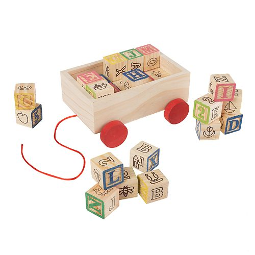 Hey! Play! ABC and 123 Wooden Blocks with Pull Cart Storage Box