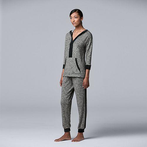 Women's Simply Vera Vera Wang 3/4 Sleeve Hooded Top & Jogger Set