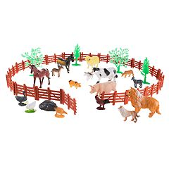 Hey! Play! Toy Farm Animal Figures and Barnyard Accessories Set