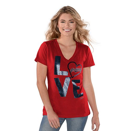 """Women's Game On Cleveland Indians """"LOVE"""" Graphic Tee"""