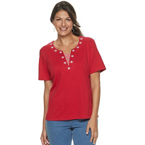 Women's Cathy Daniels Embroidered Striped Inset Top