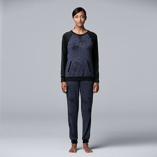 Women's Simply Vera Vera Wang Long Sleeve Top & Jogger Set