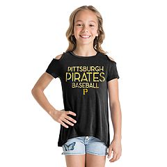 Girls New Era Pittsburgh Pirates Cold Shoulder Foil Tee