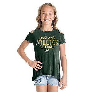 Girls New Era Oakland Athletics Cold Shoulder Foil Tee