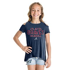 Girls New Era Atlanta Braves Cold Shoulder Foil Tee