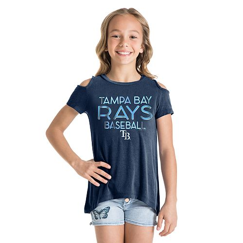 Girls New Era Tampa Bay Rays Cold Shoulder Foil Tee