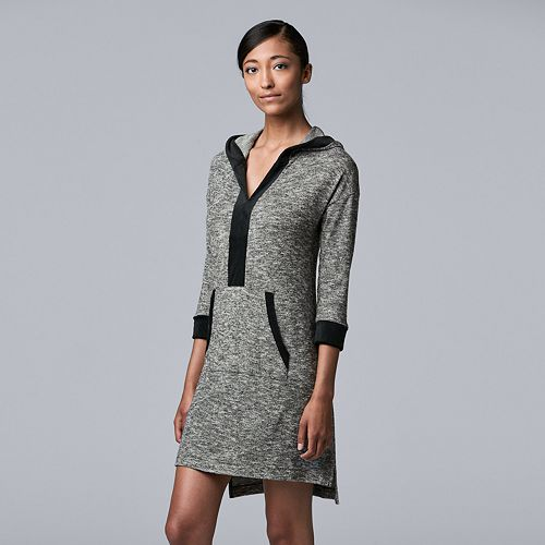 Women's Simply Vera Vera Wang 3/4 Sleeve Sleepshirt with Velour Trim